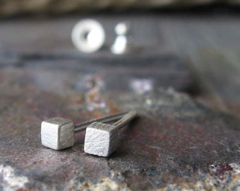 Cube stud earrings. Tiny. Sterling silver brushed finish. Minimalist posts. Dainty little squares. Bridesmaid gift. Simple silver cubes.