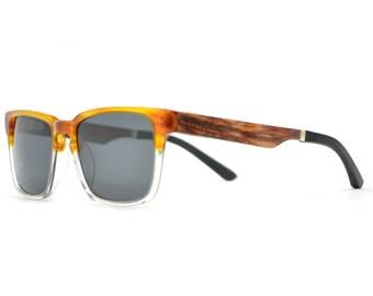 Wooden Sunglasses, Clear Frame Wood Sunglasses, Real Wood Sunglasses - MDW-CLEAR