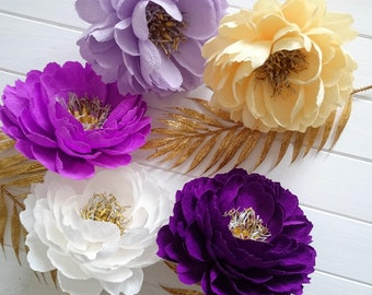 Paper bouquet  Peonies centerpieces Crepe paper flowers Bridesmaids paper bouquet Lilac paper bouquet Paper peony set Purple wedding