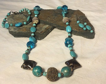 Turquoise Lampwork Bead Jewelry Set, handmade necklace, handmade earrings, Mother's Day, birthday gift, business, work