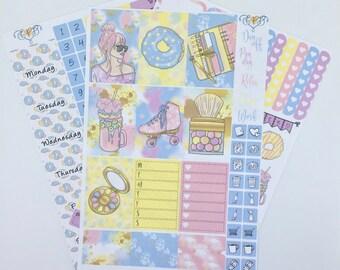 Sweet Summer Happy Planner Weekly sticker kit, HP Planner stickers, Fashion girl planner kit, Weekly kit,