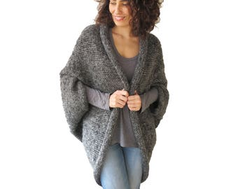 Plus Size Dark Gray Wool Hand Knitted Poncho