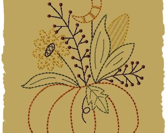 Primitive Machine Embroidery Design-Moonlite Pumpkin--Version 2--(5x7)-INSTANT DOWNLOAD