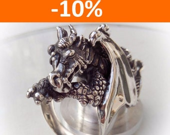 Sleeping Dragon ring - Sterling Silver - Free Shipping - 10 % SPRING DISCOUNT