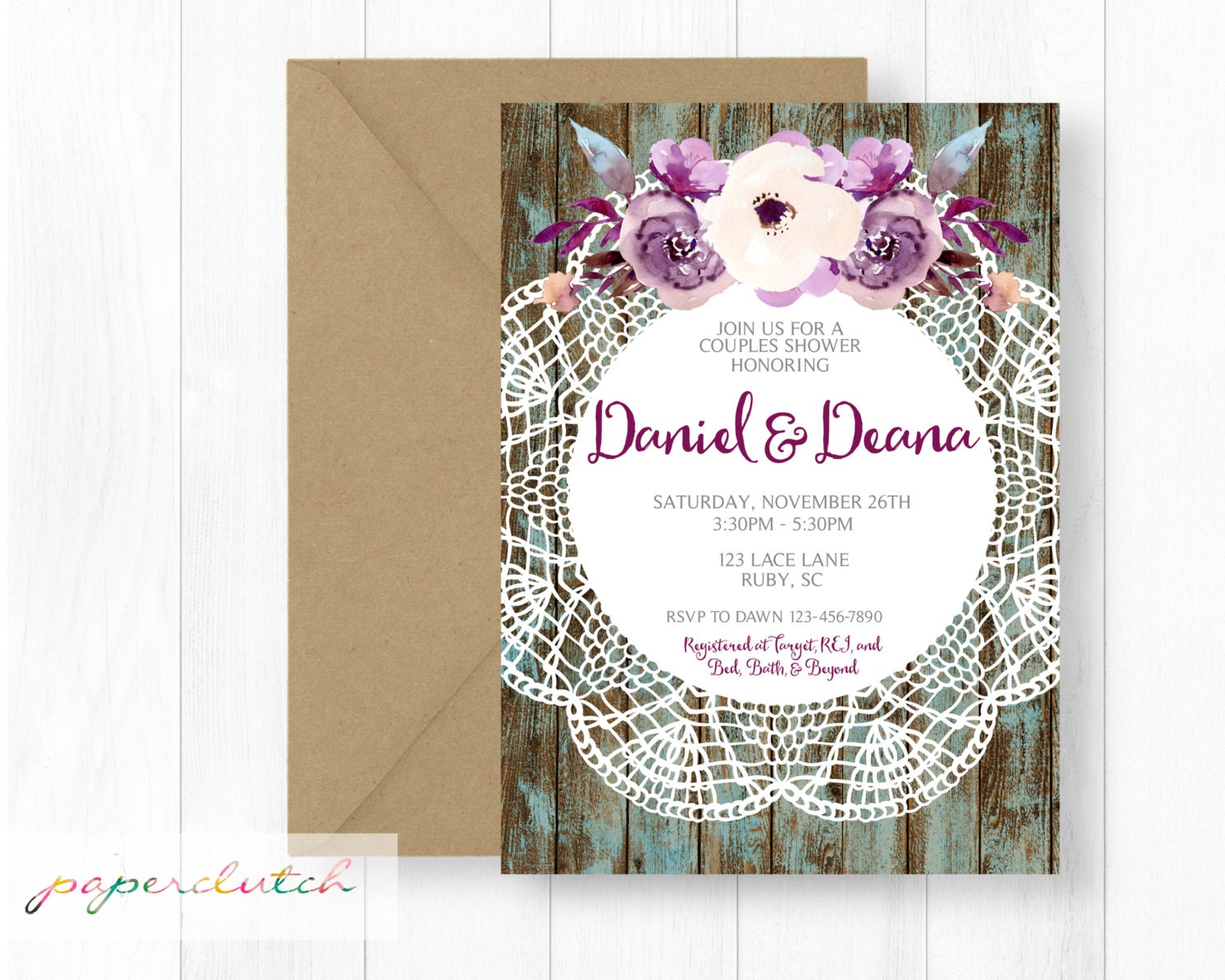 Rustic Bridal Shower Invitation Couples Shower Rustic Wood