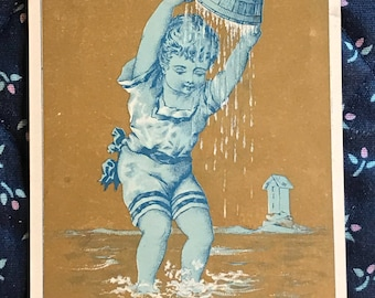 Victorian Trade Card 1800s, Little Boy Playing In The Water, Eclipse Wringer Co, Antique Paper Collectible