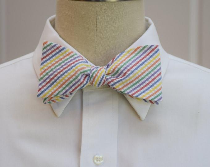 Men's Bow Tie, multi color seersucker stripes, wedding party tie, groom bow tie, groomsmen gift, wedding accessory, self tie bow tie,