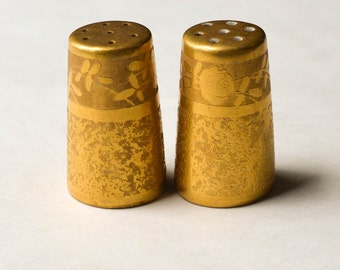 Gold Salt And Pepper Shakers, Vintage Gold Encrusted Shakers
