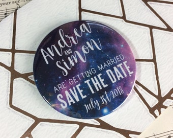 Wedding Save The Date Magnets - Galaxy (Space) Design Complete With Organza Bags (59mm)