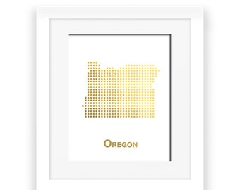 Gold Foil Oregon Map, Oregon Map, Oregon dot map, Gold Foil Map, Oregon wall decor, Oregon art, gold foil print, gold decor, gold art
