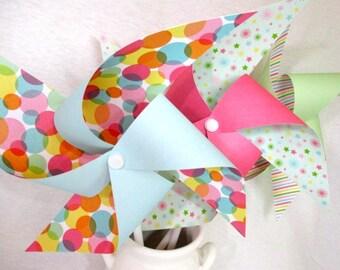 Paper Pinwheels Twirling Pinwheels Polka Dot Pinwheels Pinwheel Favors 6 Large Pinwheels Baby Shower Favors Wedding Decoration Wedding Favor