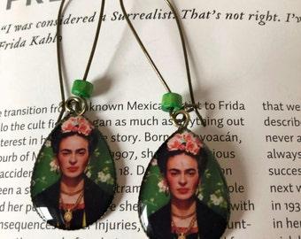 Frida Kahlo earrings. Frida Kahlo jewelry. Art earrings. Frida Kahlo bohemian earrings. Statement bohemian art earrings. Frida jewelry.