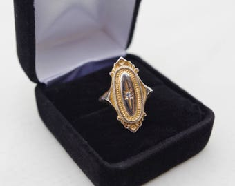 "1970's VINTAGE Signed AVON ""Kensington"" Victorian Style Gold Tone and Rhinestone Starburst Ring- Sizes: 5 & 5.5"