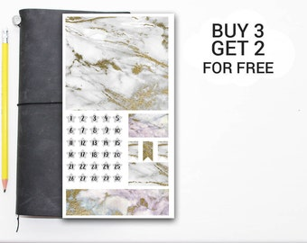 Marble Boxes Travelers Notebooks Stickers, Midori Stickers, New Year Stickers, TN Stickers