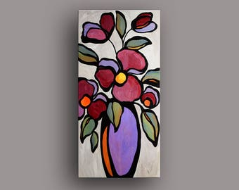 """18"""" x 36"""" Original Acrylic Abstract Painting Floral Still Life by Mike Daneshi. Free shipping within U.S.A. and CANADA"""