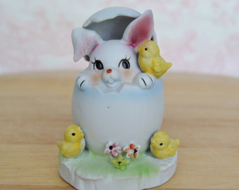 Vintage Rabbit in an Egg Figurine by Napcoware
