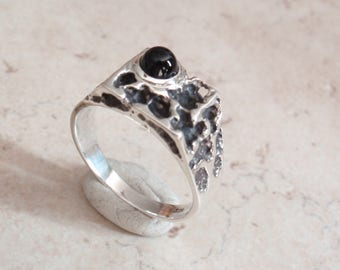 Black Onyx Ring Sterling Silver Brutalist Mens Ring size 9.75 Artisan Made CMFG