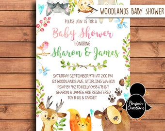 Woodland Baby Shower Girl Invitation. Forest Baby Shower. Woodland Baby Shower.