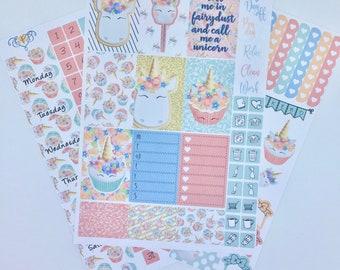 Unicorn cupcake Happy Planner Weekly kit, Sticker kit,  HP Planner stickers, Feather planner kit, Weekly kit, NEW FORMAT