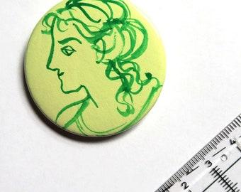 Watercolour sketch button - green lady, portrait, profile, cameo, Regency, Ancient Rome, Neoclassical, history, original art