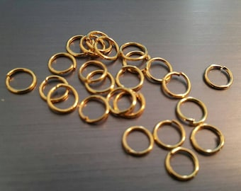 Gold plated jump rings (100 pieces)