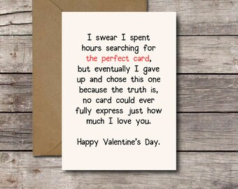 THE PERFECT CARD / Happy Valentine's Day / Romantic Card Printable Valentine for Him or Her I Love You Card Greeting Cards Instant Download