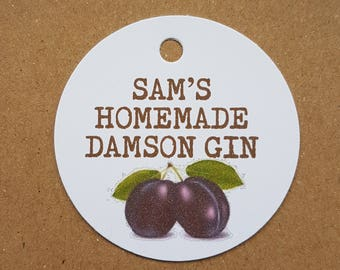 10x Personalised Homemade damson gin tags, handmade tags, bottle tags, vintage labels, gift tags, homemade damson tags, homemade gin