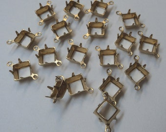8mm brass square open back prong connector settings with 2 rings 18 pcs per lot l X N