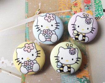 Lovely Cartoon Storybook Japanese Colourful Spring Color Floral Ladybug Bee Cats Kitty - Handmade Fabric Covered Buttons(1.1 Inches, 4PCS)