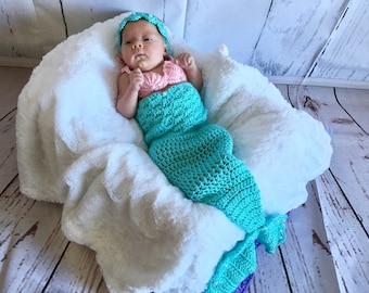 Baby Mermaid Costume - Newborn Mermaid Tail - Mermaid Tail Newborn - Baby Mermaid Tail - Baby Photo Prop - Newborn Photo Outfit - Costume