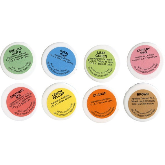 Food Color Powder Set of 8 Colors 4 grams each, Color Chocolate ...