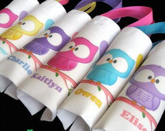 Owl birthday party favors owl first birthday owl party bags gift bags tote bags for kids woodland animals