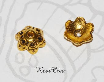 8 x caps bead caps 7mm gold metal caps