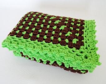 Baby Blanket Crochet Afghan Green, Brown - Newborn Baby Boy/Girl, Crib Bedding, Baby Shower Gift, Baby Doll Blanket, Baby Granny