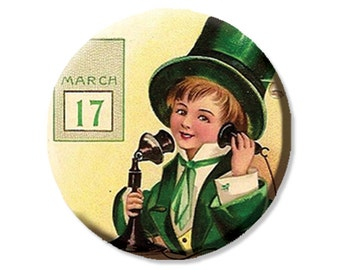 LIQUIDATION SALE! Vintage Boy Calling on St. Patrick's Day Pocket Mirror, Magnet or Pinback - 2.25""