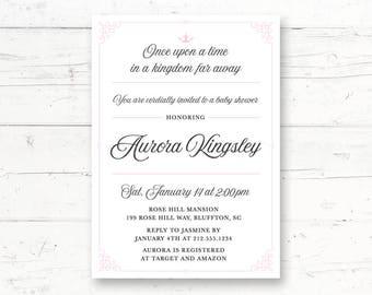 Elegant Princess Baby Shower or Bridal Shower Printable Invitation, Once Upon a Time, Storybook, Fairytale, Royal Custom Printable Invite