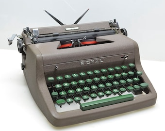 Beautiful 1955 Royal De Luxe Typewriter Chocolate Brown, Professionally Serviced, Classic User-Collectible Typewriter, w/ Manual, Case, Key