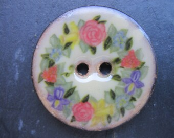 5 buttons 28 mm Coconut floral Pattern floral 2-hole