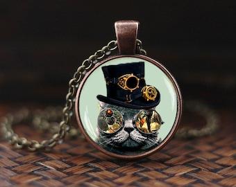 Steampunk cat necklace, Steampunk cat pendant, Steampunk pendant, Steampunk jewelry, men's necklace