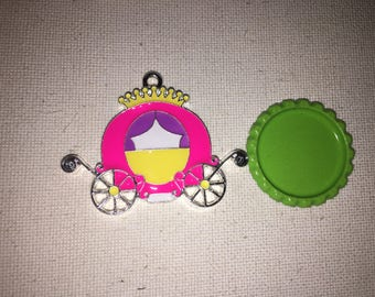 Princess Carriage Enamel pendant for chunky bead necklace, Pink Princess Carriage