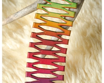 Rainbow lace leather cuff - medium