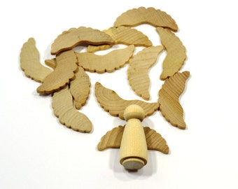 "ANGEL WINGS (50 Pieces)-Unfinished Wooden Peg Doll Angel Wings-2-1/4"" Wide x 1"" High (5.7cm x 2.5cm)-DIY-Peg Doll Supplies-Wing001"