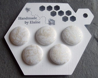 Fabric Covered Buttons - 5 x 22mm Buttons, Handmade Button, White Snow Ice Fairy Frost Opal Pearl Sparkle Variegated Dappled Buttons, 2606