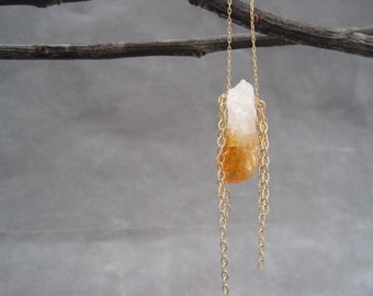 Citrine Necklace - Citrine Pendant - Raw Citrine Necklace- Citrine Jewelry - Boho Chic -November Birthstone