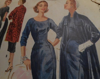 Vintage 1950's McCall's 3491 Dress and Coat Ensemble Size 12 Bust 32