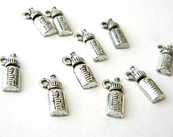 Baby Bottle Charms Set of 10 Silver Color Charm 17x8mm