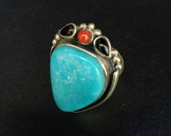 Handmade sterling silver Turquoise Black Coarl and Red Coral Statement Ring - Strawberry Ring - Turquoise Statement Ring - Size 8