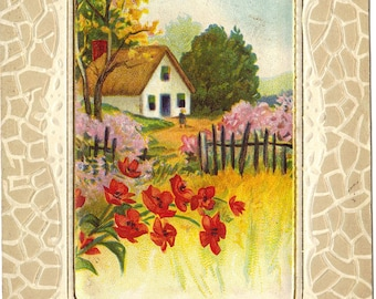 Crimson Red Poppies and Country Cottage Scene Ephemera Easter Greeting Vintage Postcard
