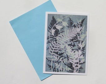 Pack of 6 blank art card greeting cards A6 Woodland ferns and oak leaves Modern floral botanical nature design in dusky green FREE SHIPPING