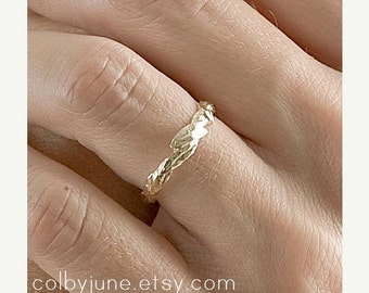 14k Gold Small Leaf Ring | Stacking Ring | Nature Inspired Ring